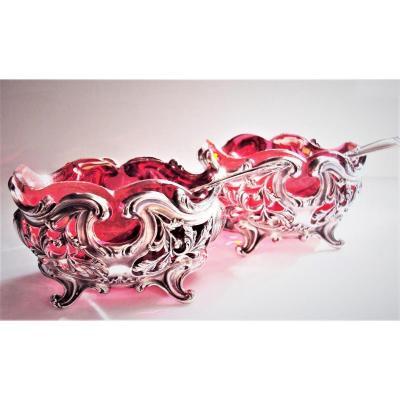 Paire De Salières de style Louis XV argent et cristal rubis Baccarat