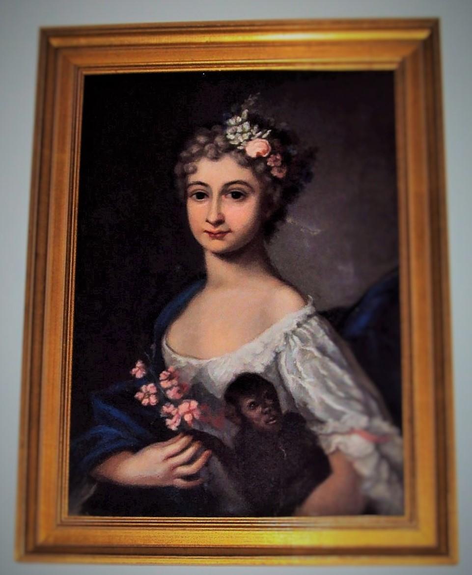 Tableau Huile sur toile  La jeune femme au singe d ' après Rosalba Carriera