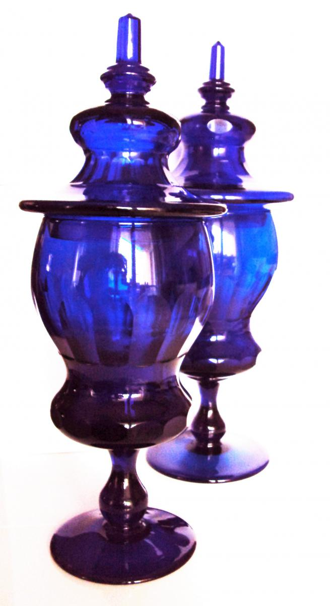 Ornamental Vases Pair Of Glass Royal Blue Vases And Glass Objects
