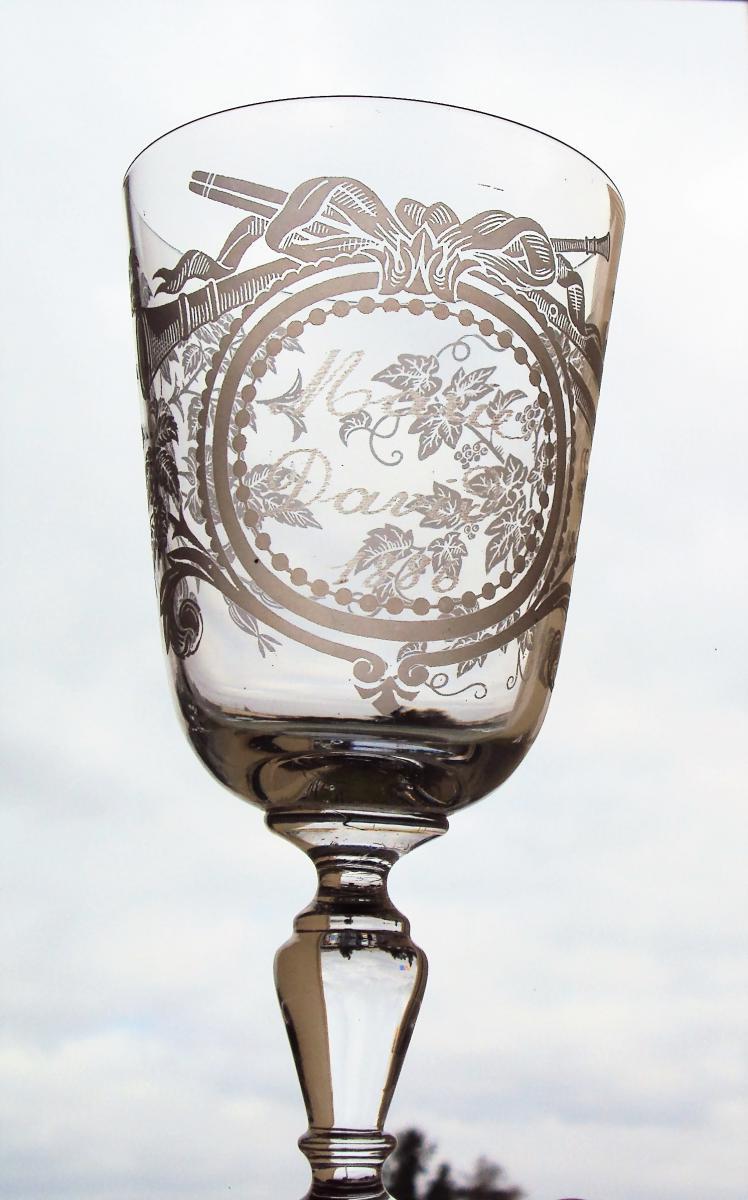 Verre De Mariage en cristal pur daté 1886