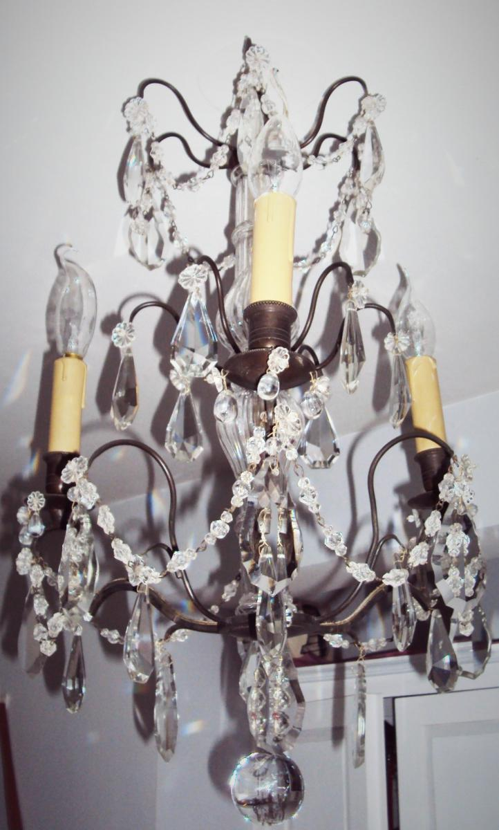 Small Chandelier Three Fires Bronze And