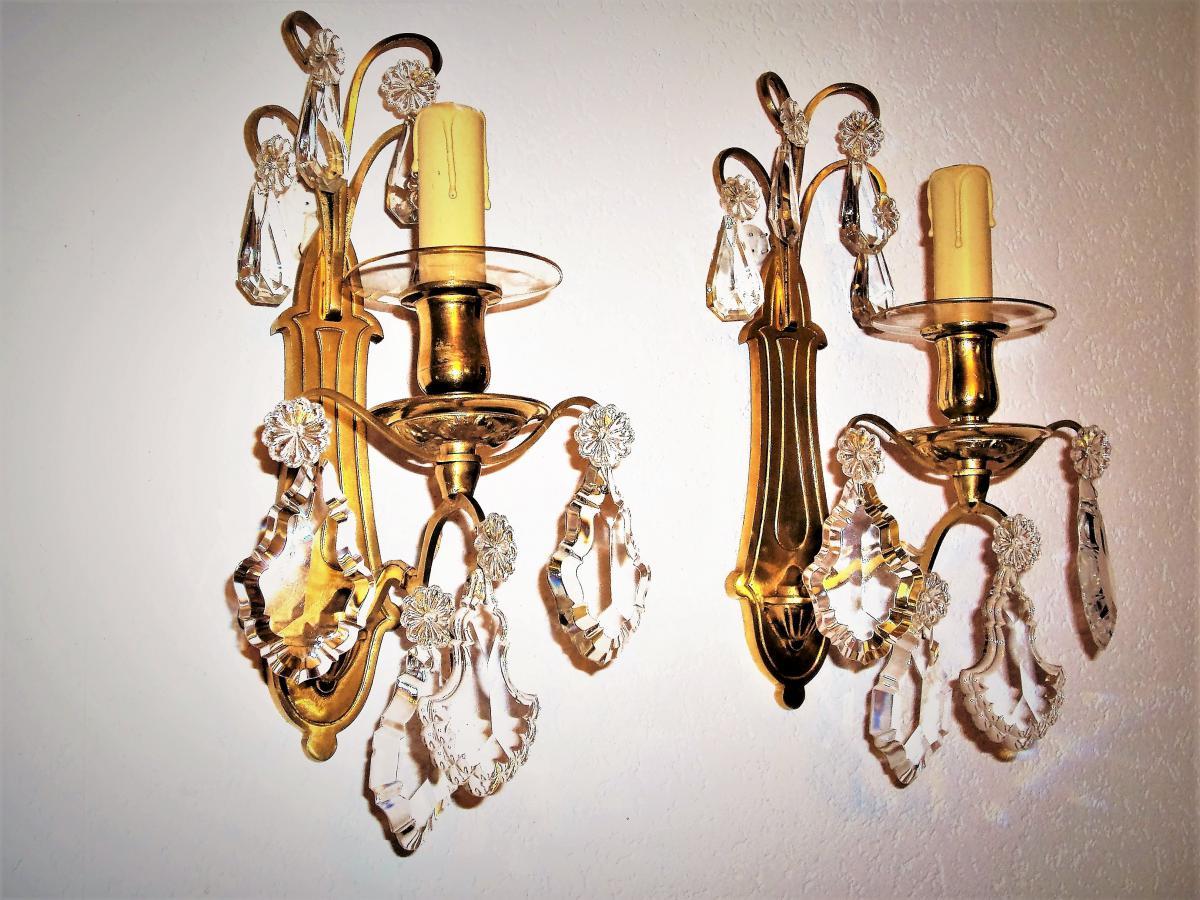 Paire d' Appliques En  bronze doré et cristal  Baccarat