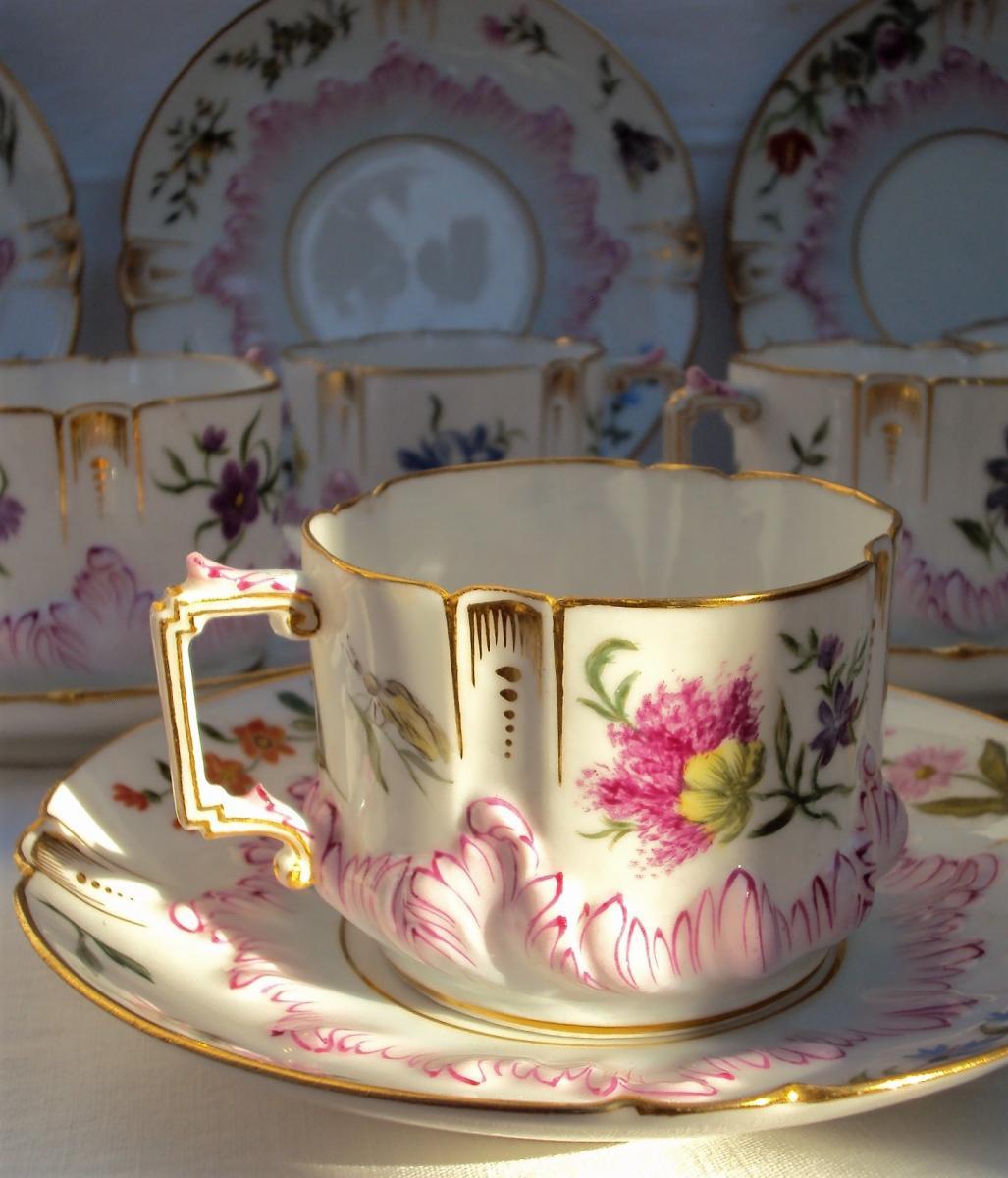 Service à Café  Art-nouveau En Porcelaine De Limoges  19 ème