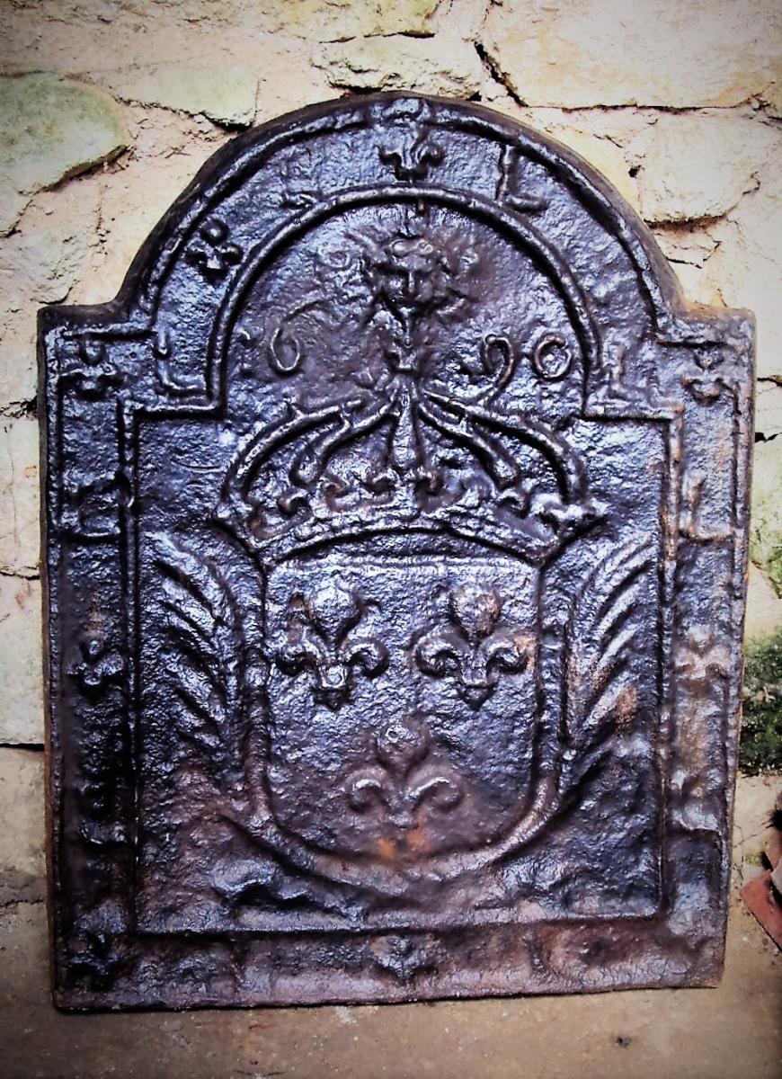Plaque De Cheminée Louis XIV Roi Soleil Armoiries De France