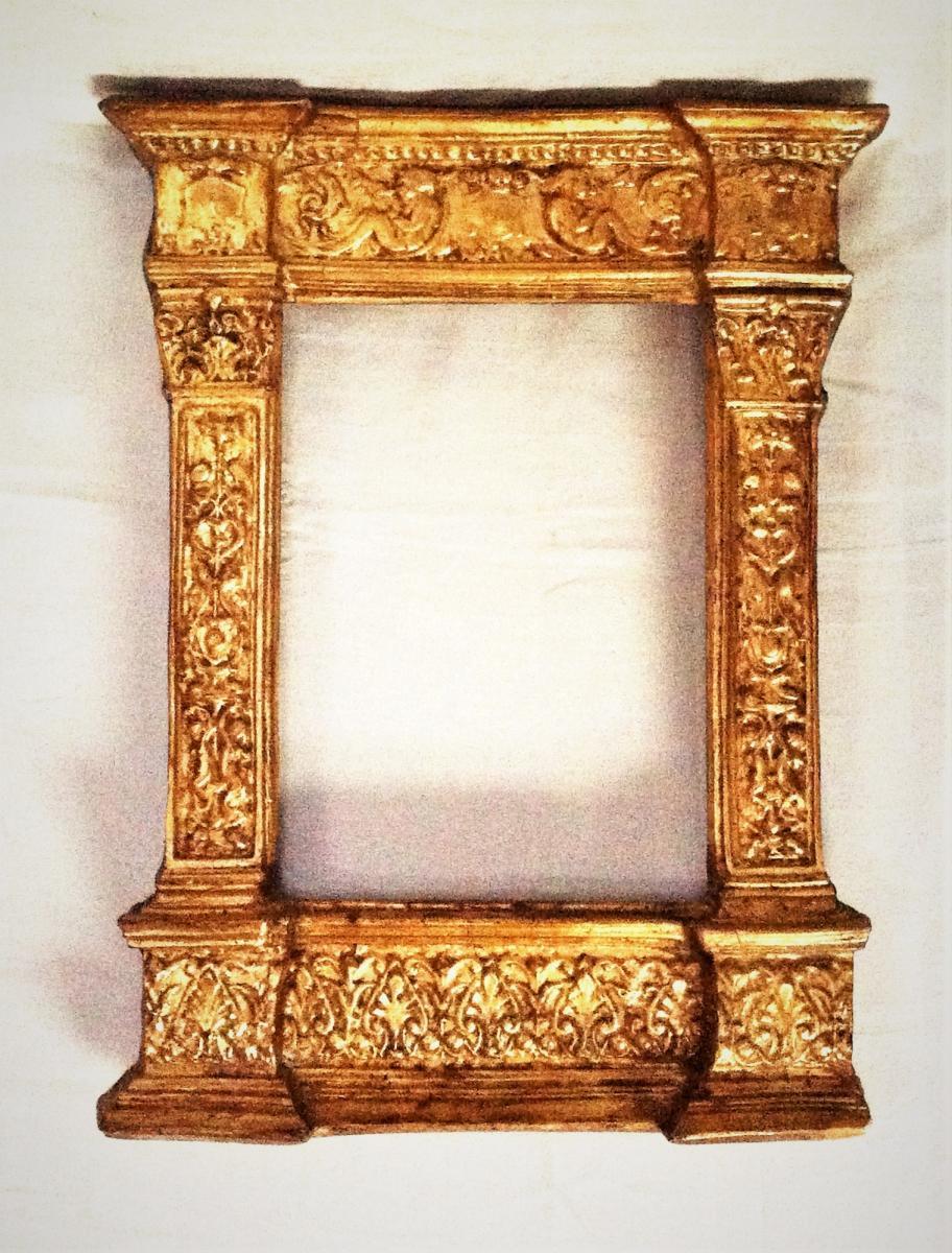 """Cadre Doré De Style Renaissance Dit """" Tabernacle """"  19 ème"""