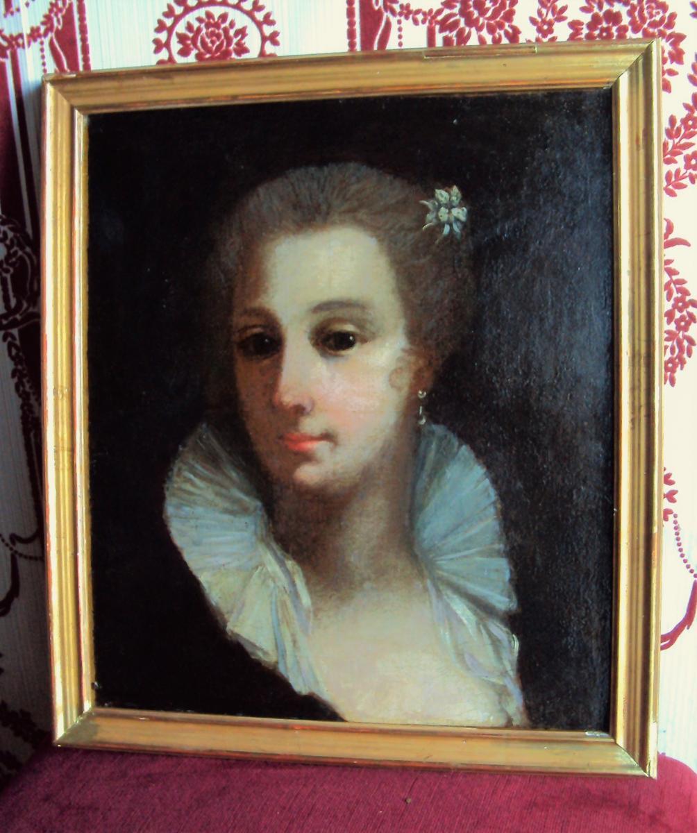 """Portrait De Jeune Femme  à """" La Chérusque""""  époque Consulat"""