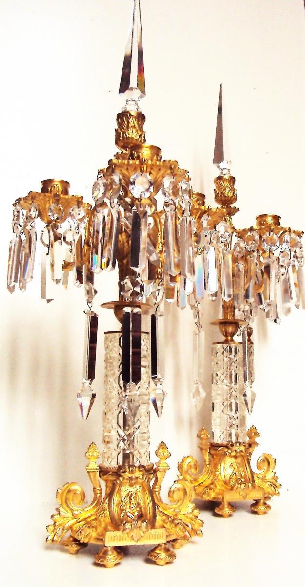 Paire De chandeliers candélabres En Bronze Doré Et Pampilles De Cristal 19 ème