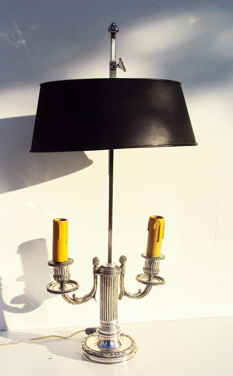 Lampe Bouillotte Bureau De Style Louis XVI En Bronze Argenté