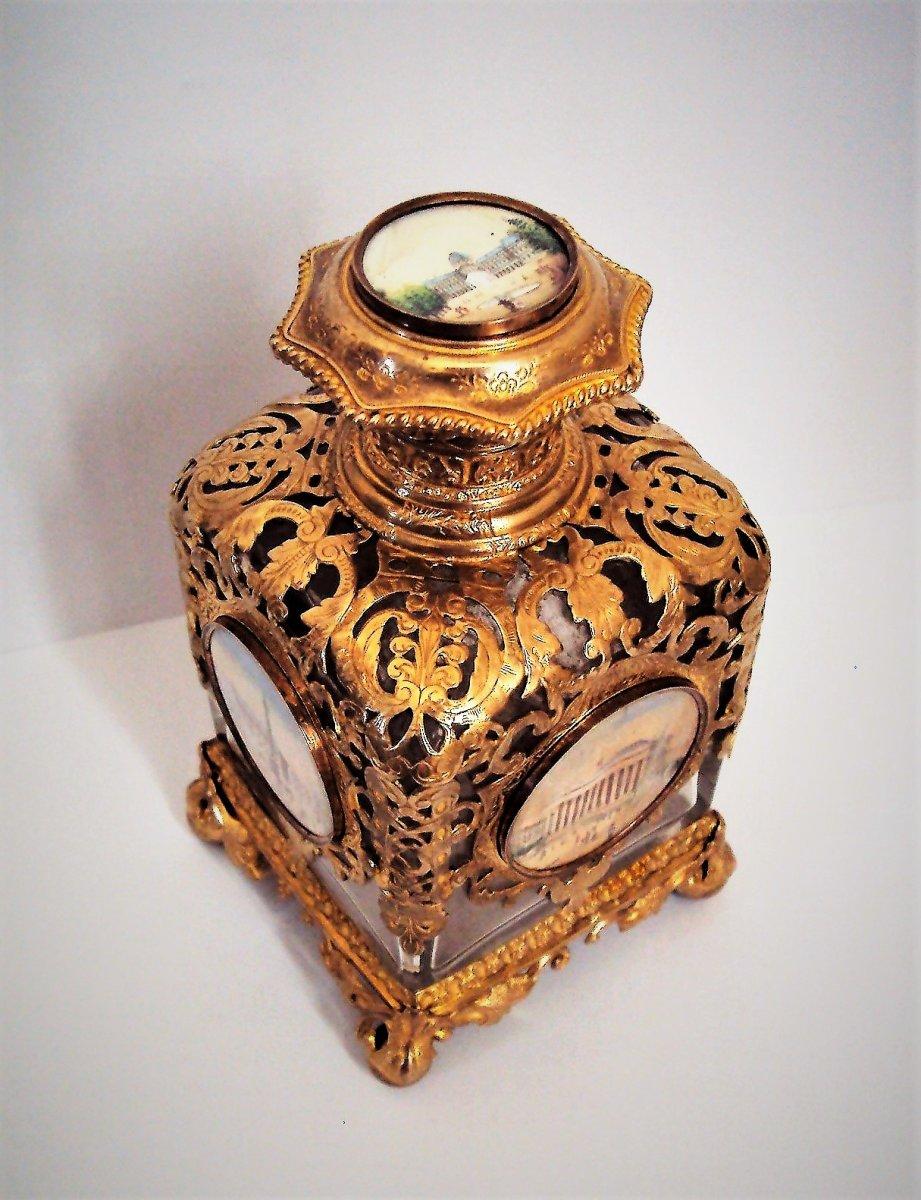 Flacon Bottle Parfum Cristal Miniatures Sur Ivoire Notre Dame De Paris, Arc De Triomphe Etoile ...
