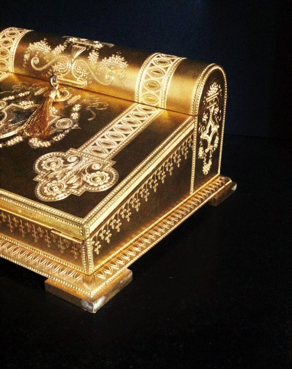 Travel Writing Case In Golden Broze Nobility 19th