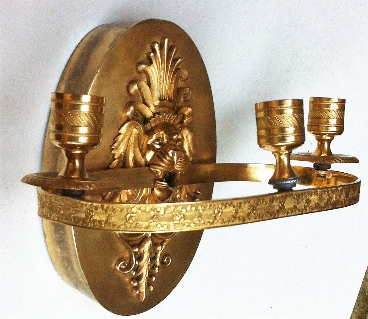 Applique à Mufle De Lion Bronze Doré 19 ème-photo-1