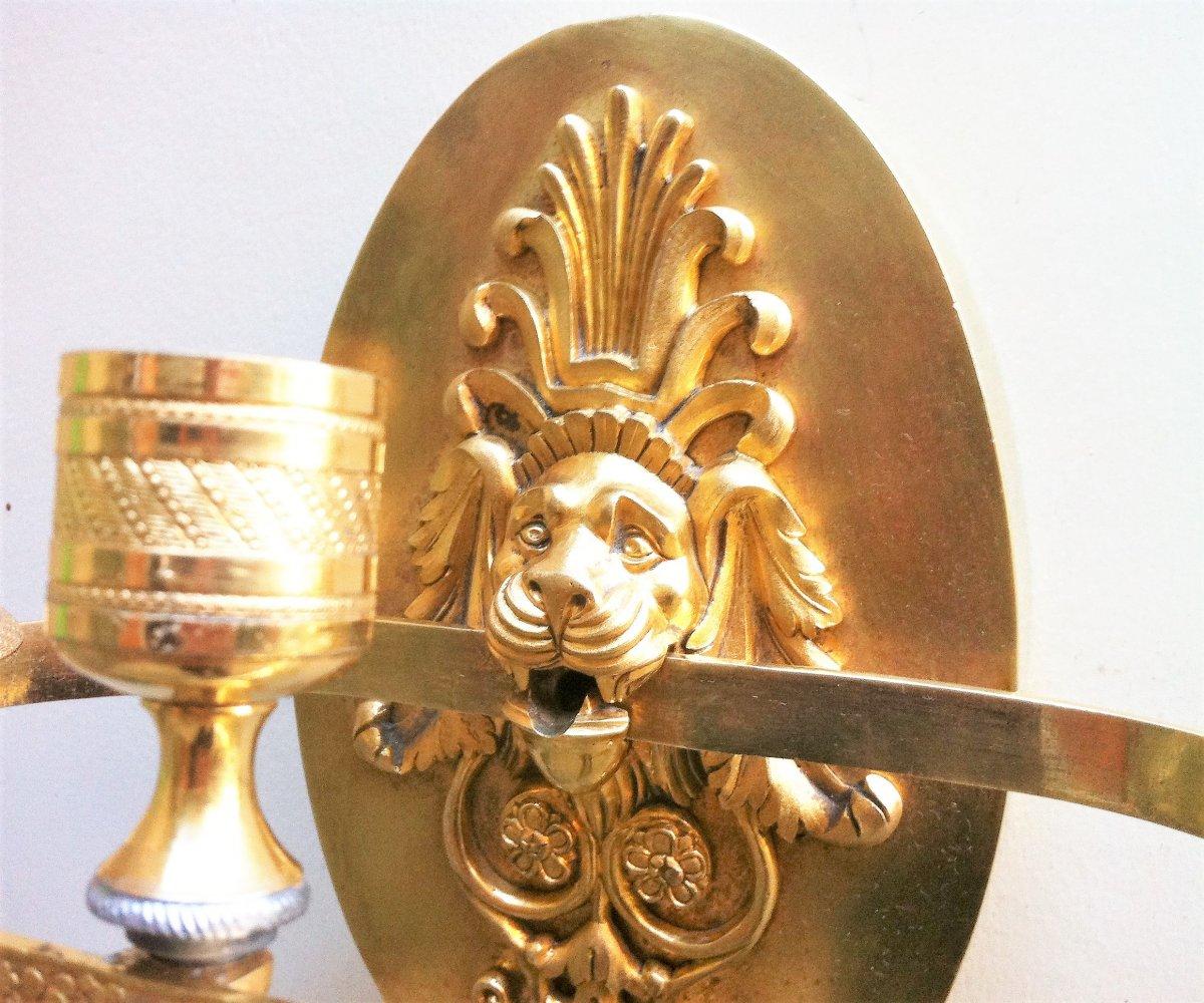 Applique à Mufle De Lion Bronze Doré 19 ème-photo-2