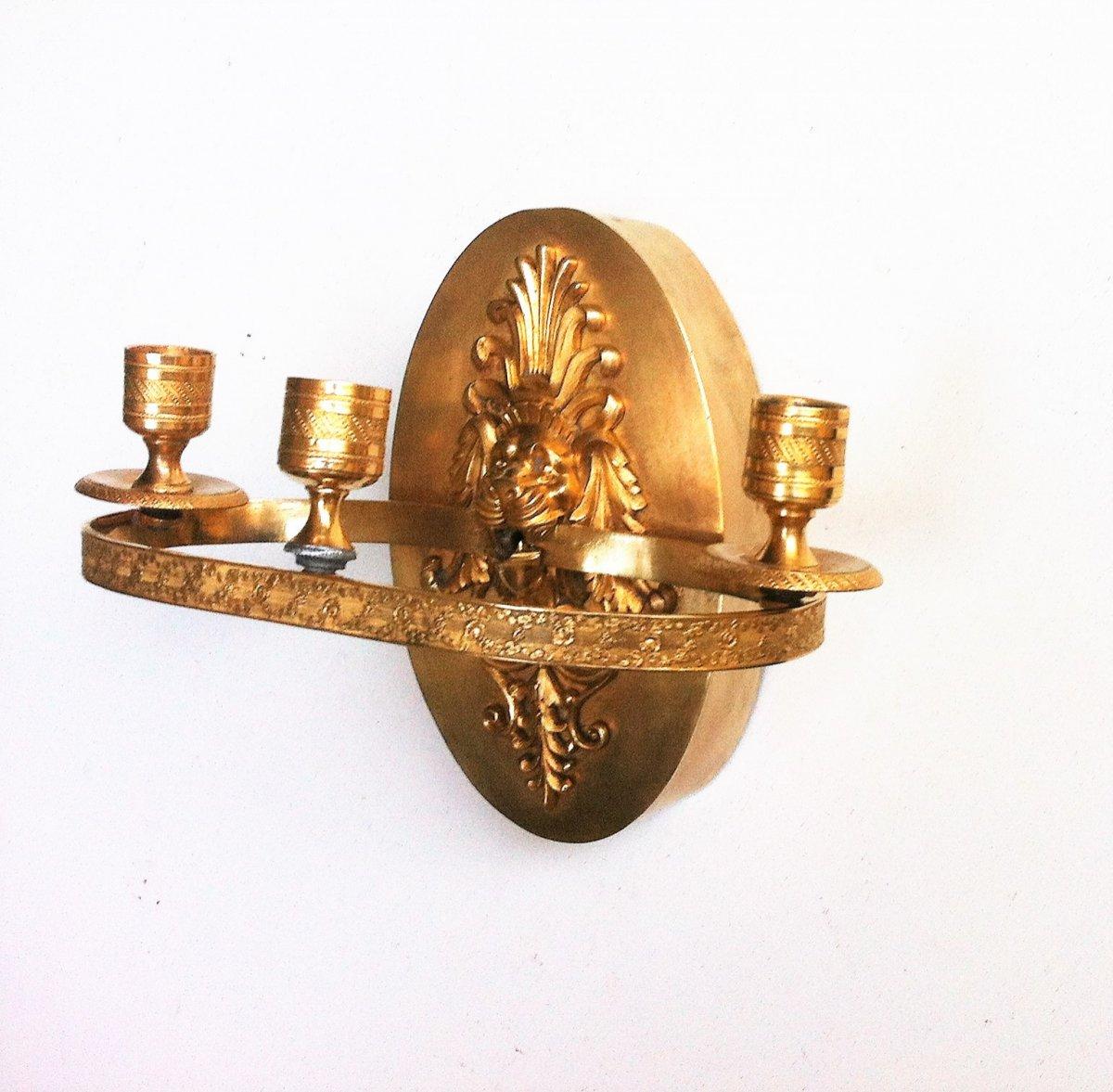 Applique à Mufle De Lion Bronze Doré 19 ème-photo-5
