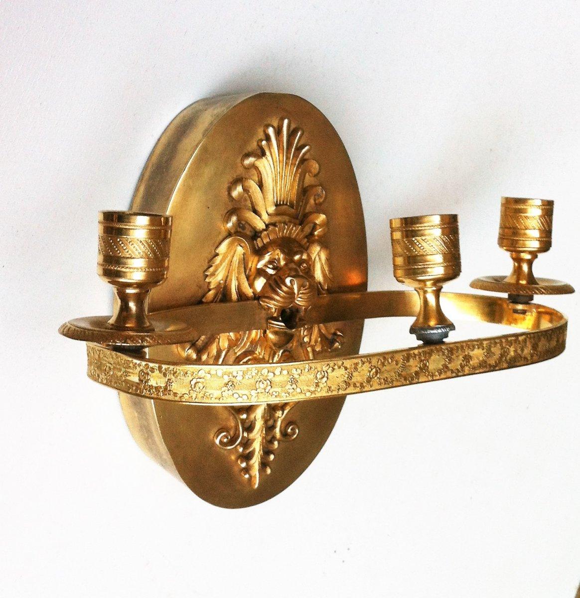Applique à Mufle De Lion Bronze Doré 19 ème