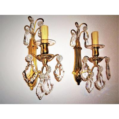 Baccarat Pair Of Lamps Crystal And Gilt Bronze