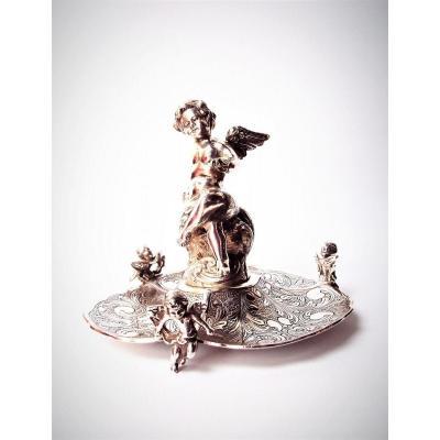 Serviteur De Table Ou Vide Poches En Bronze Argenté XIXème