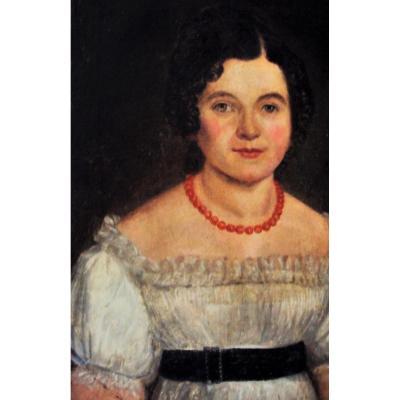 Portrait Jeune Fille Au Collier De Perles De Corail Hst Debut XIXème