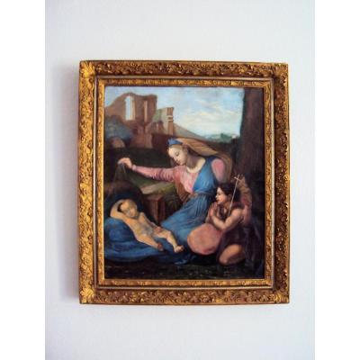 Tableau Vierge à l' Enfant Et St Jean Baptiste Enfant Huile Sur Toile 19 ème Siècle