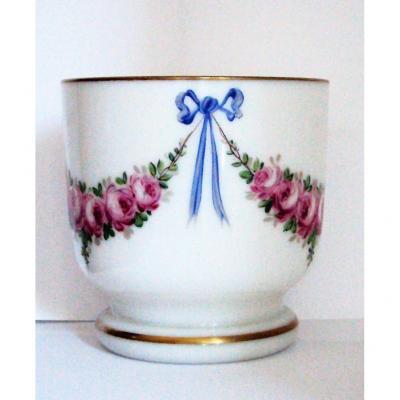 Vase : Jatte En Cristal Opalin à Décor Louis XVI  Peint Main 19 ème
