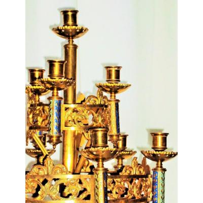Candlestick In Gilt Bronze 10 Candles XIX
