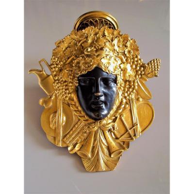Luminaire En Applique Bronze Patiné Et Doré Mascaron Bacchus