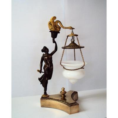 Luminaire Veilleuse En Opaline , Bronze Patiné Et Doré XIXème