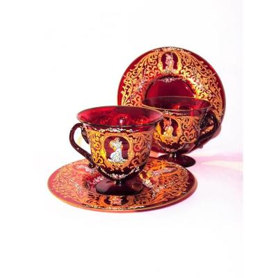 Pair Of Cups / Saucers Murano Decor Renaissance Gold