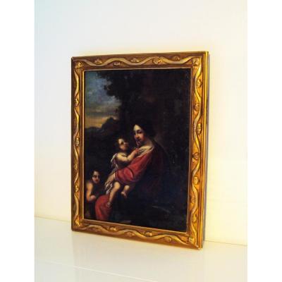 """Tableau """" Madonna Gesù Bambino """" Vierge à l' Enfant Hst Vers 1700"""