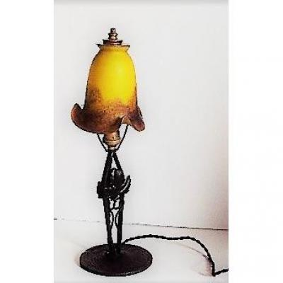 """Lampe De Bureau Art-nouveau  """" Le  Verre Français"""""""