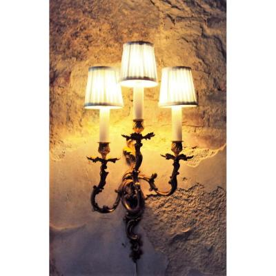 Louis XV Style Wall Lamps Rocaille Gilt Bronze