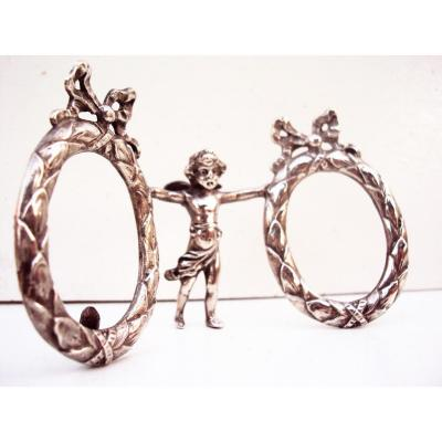 Double Frame In Sterling Silver Louis XVI Angelot Photos