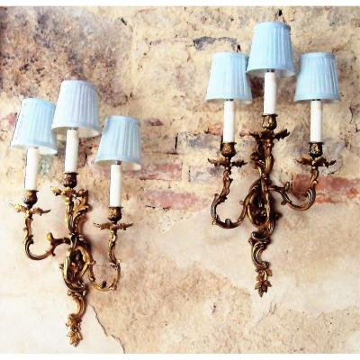 Pair Of Appliques Three Lights Louis XV Style