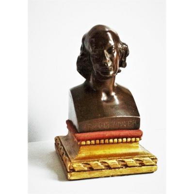 Buste En Bronze Pierre Jean De Béranger Par Pierre Jean David D ' Angers XIX ème