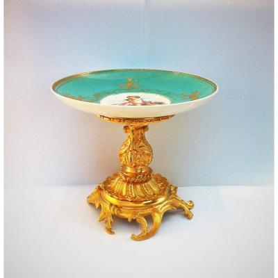 Grape Bowl, Center Table In Sevres Porcelain Signed Louis Philippe Period 19th