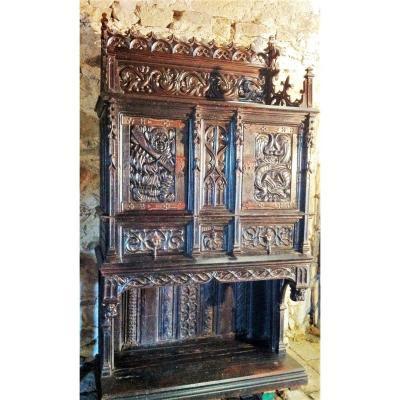 Meuble Dressoir Crédence de Château d  ' époque Gothique XVIème