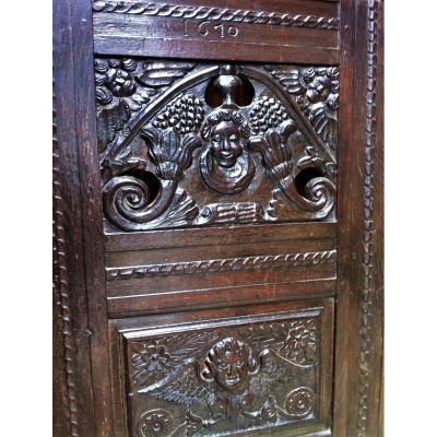 Panneau De Porte Daté 1610 décor aux anges