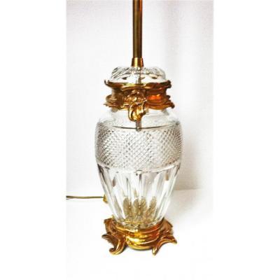 imposante Lampe En Cristal et bronze doré