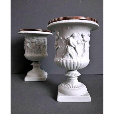 Vases Médicis Borghèse En Biscuit De Porcelaine 19eme