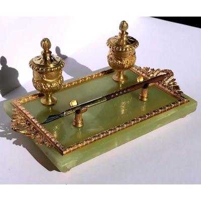 Empire Style Inkwell Onyx And Gilded Bronze Napoleon III Period