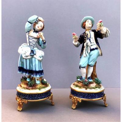 Paire De Figurines En Porcelaine   Capodimonte