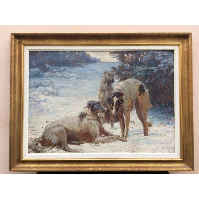 Large Oil On Panel Painting By René Hérisson 1857/1940