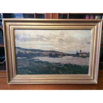 Tableau Hst Abel Lauvray 1870-1950 Bords De Seine Vers Vetheuil