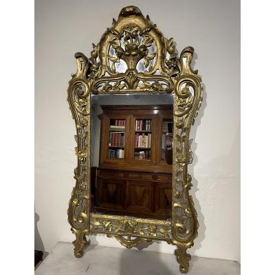 Grand Miroir En Bois Sculpté De Style Provençale Louis XV