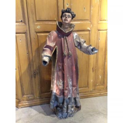 Étonnant Moine Espagnol polychrome en bois sculpté