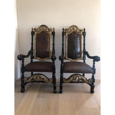 Exceptional! Pair Of Seats Early 17th Century.