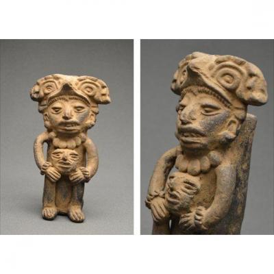 Urne funéraire anthropomorphe, Mexique, culture Zapotèque, Monte Albán III, 200 av - 500 ap JC