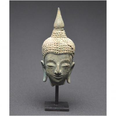 Royaume du Siam, XVIème - XVIIème siècle, École d'Ayutthaya, Petite tête de Bouddha en bronze