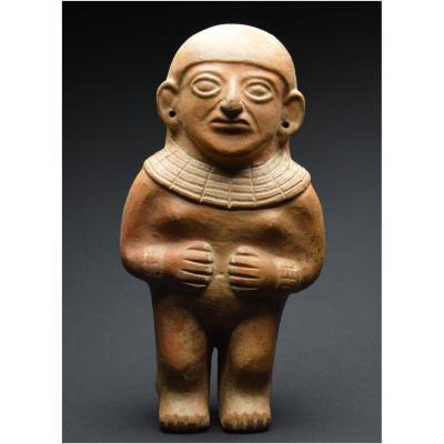Pérou, 500 - 700 ap J.-C., Cuture Mochica, Importante statuette anthropomorphe en céramique