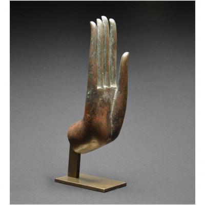 Ancient Kingdom Of Siam, 16th Century, Large Bronze Hand Of Buddha In Abhaya Mudra Position