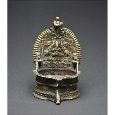 India, 19th Century, Old Ceremonial Oil Lamp, Copper Alloy